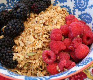 Close up of granola, raspberries and blackberries in a blue and white ceramic bowl