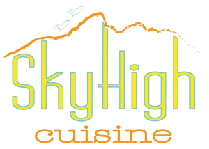 Sky High Cuisine logo in yellow and orange on a transparent background
