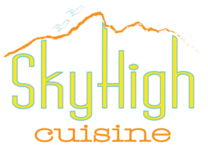 Sky HighCuisine logo in yellow and orange on a transparent background